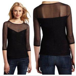 Black BCBG Amora Top sheer mesh / tulle 1/3 sleeve